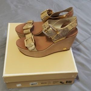 Gold strapped wedges